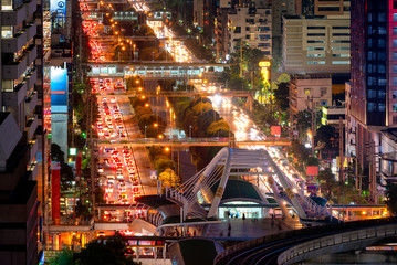 Traffic in business area during rush hour at Bangkok,Thailand