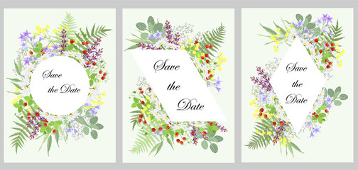 Set of templates for wedding invitation cards, floral design with copy space, vector illustrations.