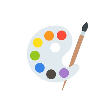 Paint palette and paint brush,  art equipment