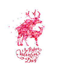 Happy Valentines Day. mating deers silhouette of pink rose petals