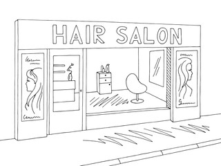 Hair salon exterior graphic black white sketch illustration vector