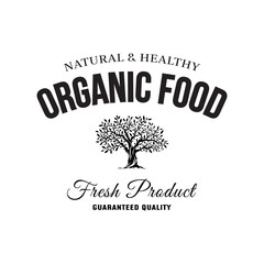 Organic natural and healthy farm fresh food retro emblem.