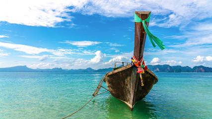 Take a longtail boat Sunshine at Sand and Sea Asia Beach Krabi Thailand Destinations  Beautiful Tropical Ocean Summer view