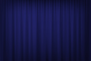 Blue curtain background. Vector cinema, theater or circus curtain.