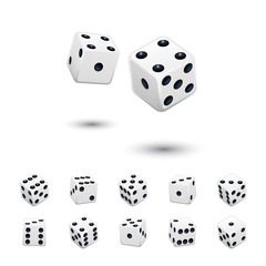 Dice game element set. Vector white cubes in different positions on isolated on white background.