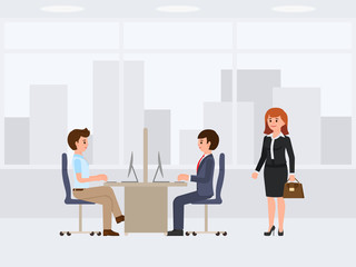 Casual working day cartoon character. Vector illustration of coworkers and boss woman