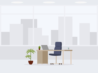 Design of modern empty office 3/4 view. Vector illustration of working place
