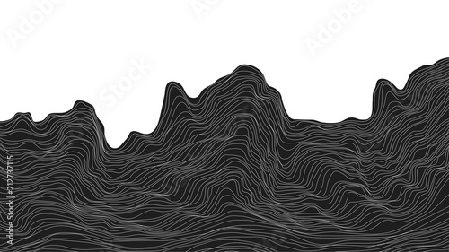 Abstract Black And White Background Dynamic Particle Waves