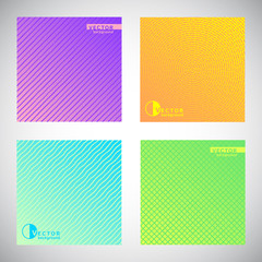 Set, collection of flat square colorful gradient backgrounds with ornamental pattern. Radial, concentric circles, dynamic diagonal stripes, wavy streaks or waves, grating, mesh, chequered texture.
