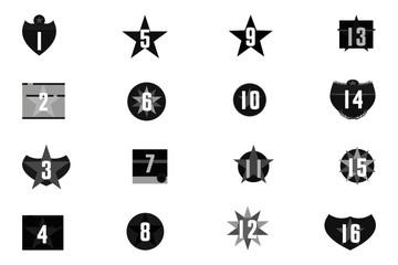 numéros chiffres dans des formes géométriques en niveaux de gris
