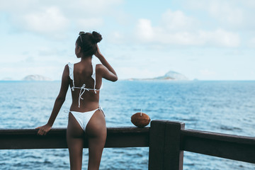 View from behind of svelte African-American girl leaning against a wooden pier fence near the ocean, fixing hair and looking into the distance on the islands in the hazy background, coconut near her