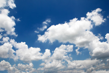 Blue sky and white clouds nature background.