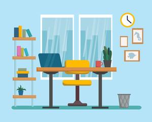 The workplace interior cartoon design. Freelancer, designer office workstation. Business concept flat style cartoon vector illustration