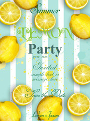 Summer lemons party invitation Vector. Juicy watercolor fruits cards