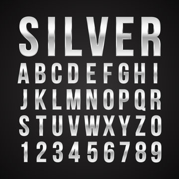 Font alphabet number silver effect vector
