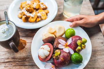 Fresh asian fruits for breakfast