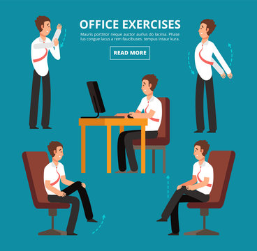 Office exercises at desk. Diagram for health employees vector illustration