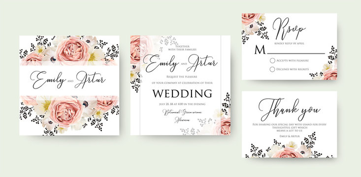 Wedding floral watercolor invite, invitation, save the date, rsvp, thank you card design. Pink peach garden rose, white anemones, magnolia flowers & black berry decorative border. Vector, art template