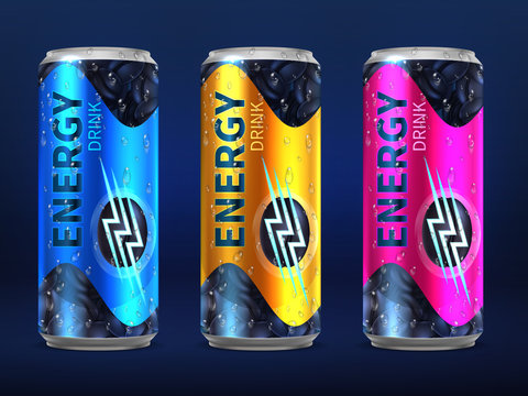 Realistic disposable energy drink cans in different colors of design vector template isolated on white background