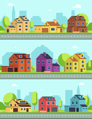 City street with buildings, suburban road and houses, cottages. Vector seamless horizontal cityscapes