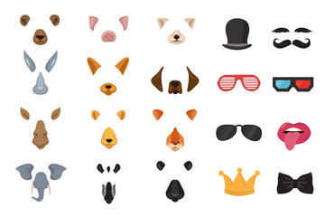 Funny animal faces, cartoon masks, photo filters for phone video cat application vector set