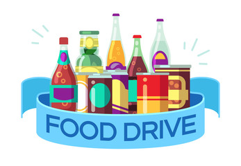 Christmas food drive. Canned soup and drinks, gift homeless vector concept