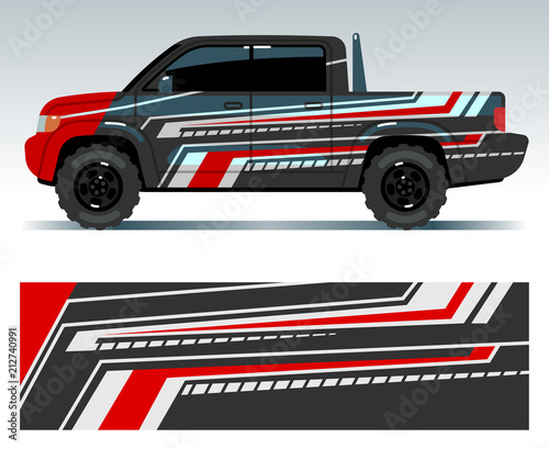 6ff1bbaf7f Racing car design. Vehicle wrap vinyl graphics with stripes vector  illustration