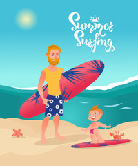 Surfer man with surfboard with little son on the beach. Vector cartoon character illustration. Family summer holiday, trip