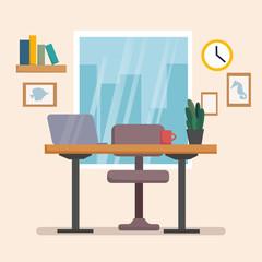 The workplace interior cartoon design with furniture, books. Freelancer, designer office workstation. Business concept flat style cartoon vector illustration