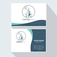 Marine abstract logo design Corporate Business card. Element for design business cards, invitations, gift cards, flyers and brochures