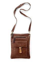 genuine leather shoulder bag isolated