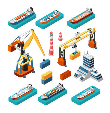 Isometric 3d ships, cranes, sea port building, lighthouse and shipping containers vector marine logistic set isolated