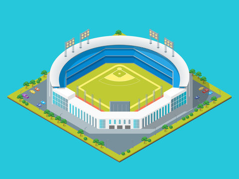 Soccer or Baseball Park or Stadium Concept 3d Isometric View. Vector