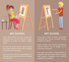 Man and Woman Drawing Pictures on Easel by Pencils