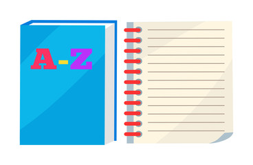ABC Book or Copybook and Spiral Notebook Vector