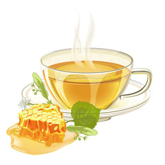 Cup of tea with linden flower and honeycomb. Vector illustration isolated on white background.