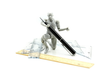 Model Robot with pen,Stationery,diy, innovation, modern technology concept. Stem education.