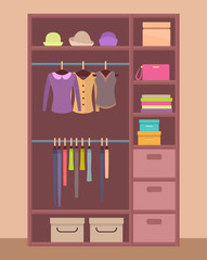 Wooden Wardrobe with Bright Clothes and Warm Hats