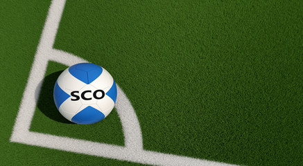 Soccer ball in Scotland national colors on a soccer field. Copy space on the right side - 3D Rendering
