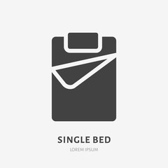 Single bed flat glyph icon. Bedding sign. Solid silhouette logo for interior store.