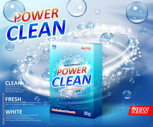 powder laundry detergent advertising poster washing powder carton box package label template with soap bubbles