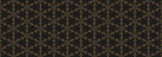 Seamless pattern with snowflakes, abstract, dark background. Geometric shape, vector illustration. Christmas background.