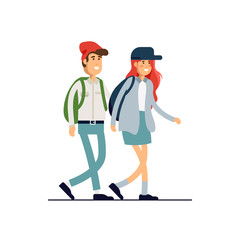 Colorful vector illustration set of standing happy romantic couples walking together. Flat cartoon hipster characters isolated on white background.