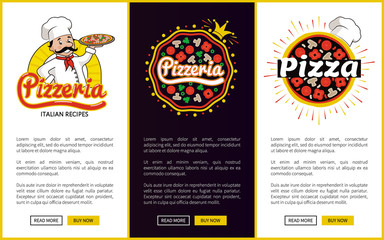 Pizzeria with Italian Recipes Promo Banners Set