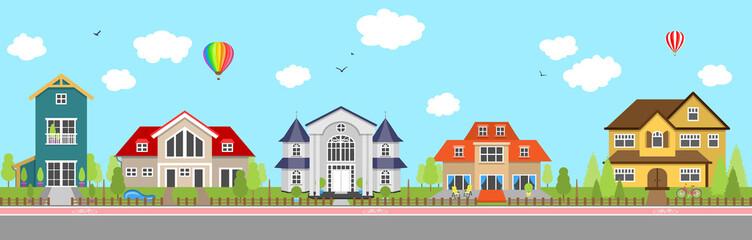Häuser Immobilien Vektor Banner