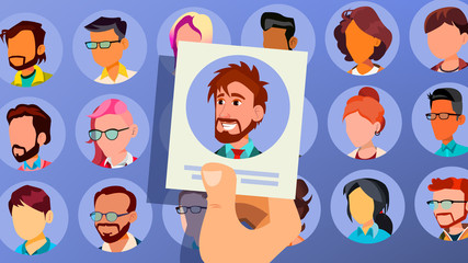 Human Recruitment Vector. Man. Business Man Picked In Recruitment. Pick Up. Individual. Group Of Businesspeople. HR Process. Cartoon Illustration