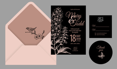 Invitations, thank you, rsvp templates cards and cover with flowers, butterfly and bird.