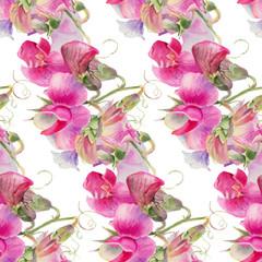 Pink watercolor wildflowers