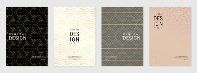 Vector set of cover design template with minimal golden geometric patterns.