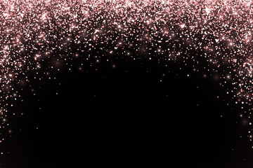 Rose gold falling particles on black background, arch form. Vector
